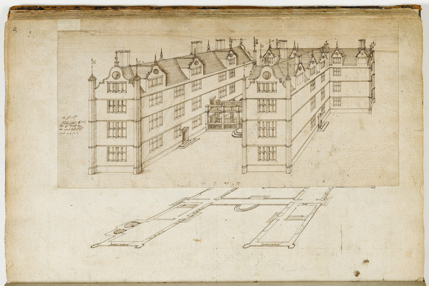 House in the form of the initials 'I T' from the Thorpe Album showing a Tudor house partly in perspective and partly in plan view