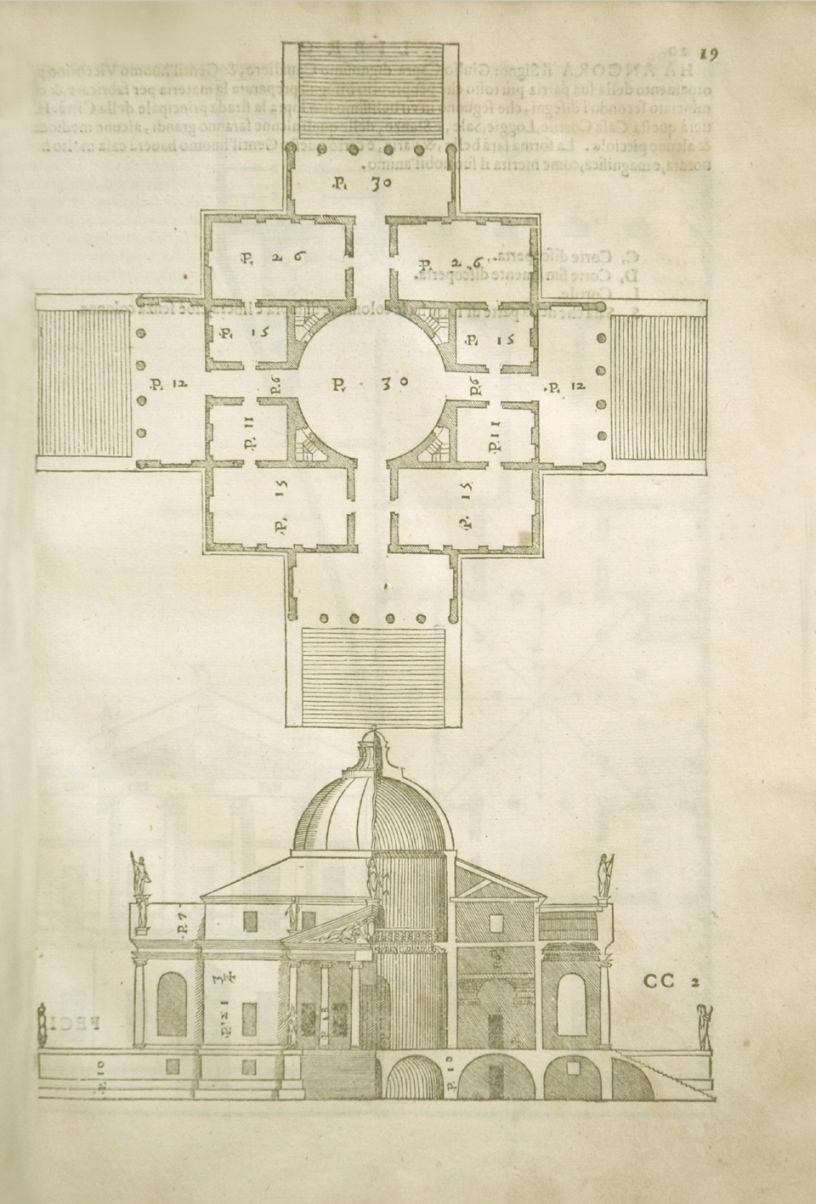 Woodcut from a publication by Palladio showing the symmetrical, cross shaped building in plan view, and also a section view at the bottom