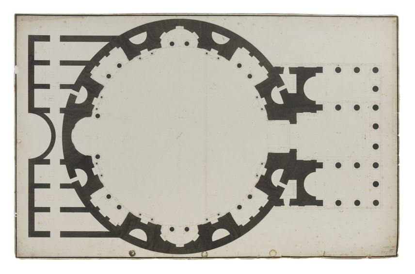A plan drawing of the Pantheon showing its circular shape.