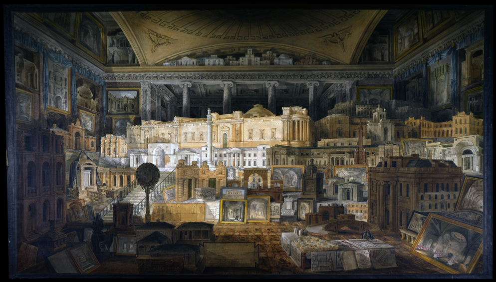 Painting entitled 'Public and Private Buildings' showing all Soane's buildings built up until 1815 in the form of models or drawings gathered together in one room