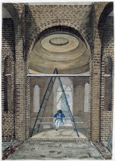 Pupil sketching in the unfinished Mausoleum at Dulwich