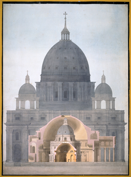 Drawing of three domed buildings superimposed one on the other
