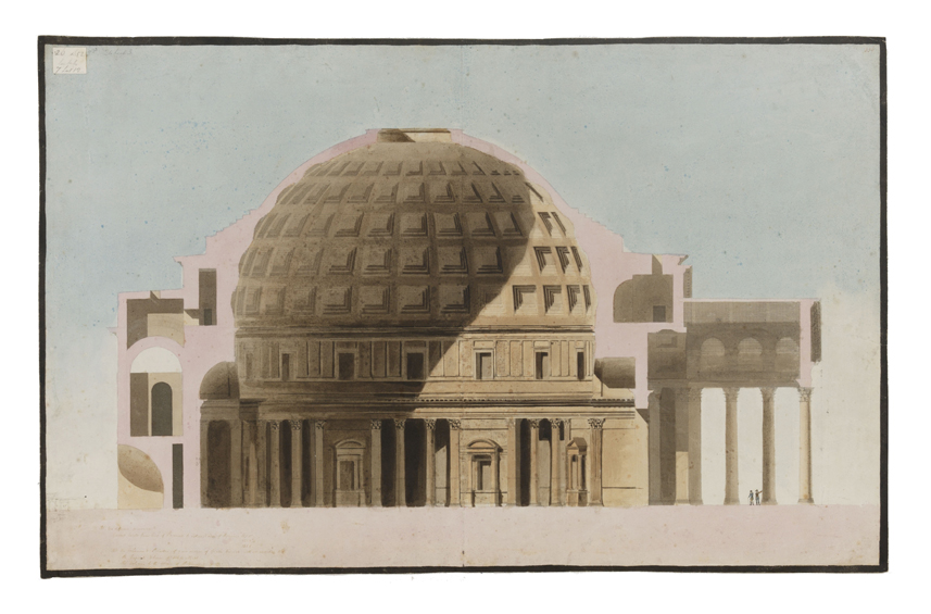 section drawing of the pantheon in Rome