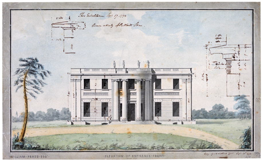 The entrance front of Tyringham drawn in section. the drawing also shows the surrounding land and the sky behind. architectural sketches have been drawn over the sky probably by someone working on the project.