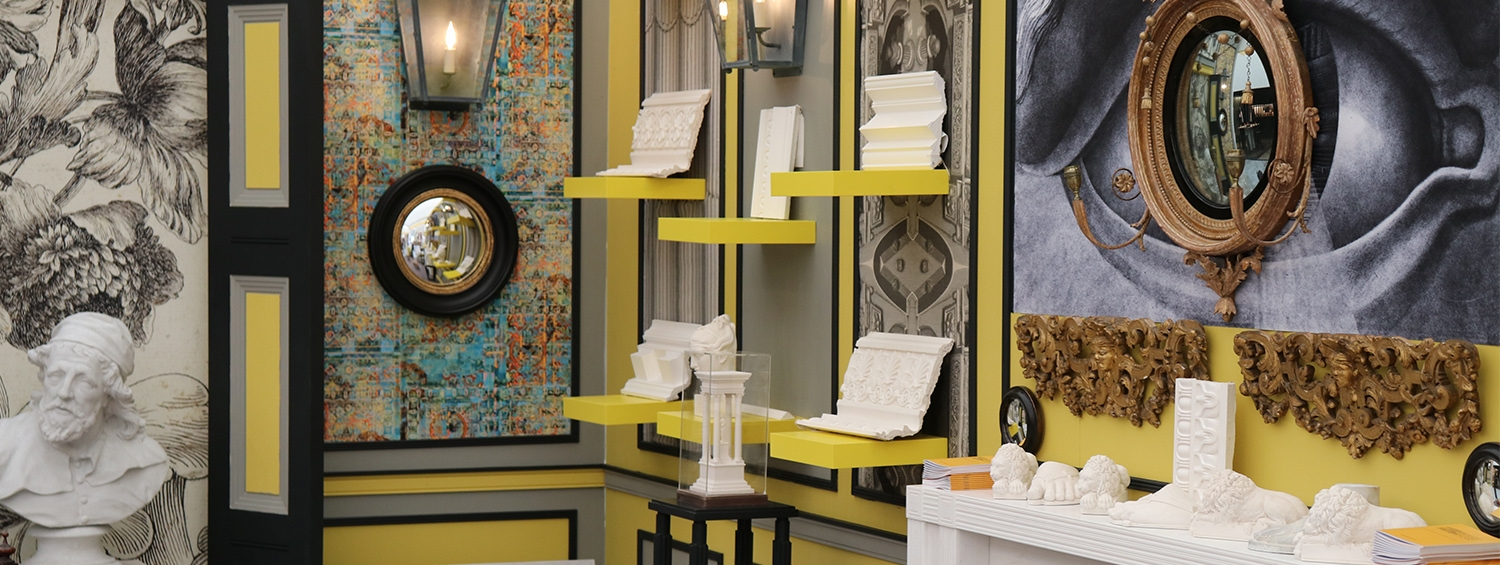 The 2018 Soane Museum Enterprises stand at Decorex, exhibiting products by Soane Licencing Partners