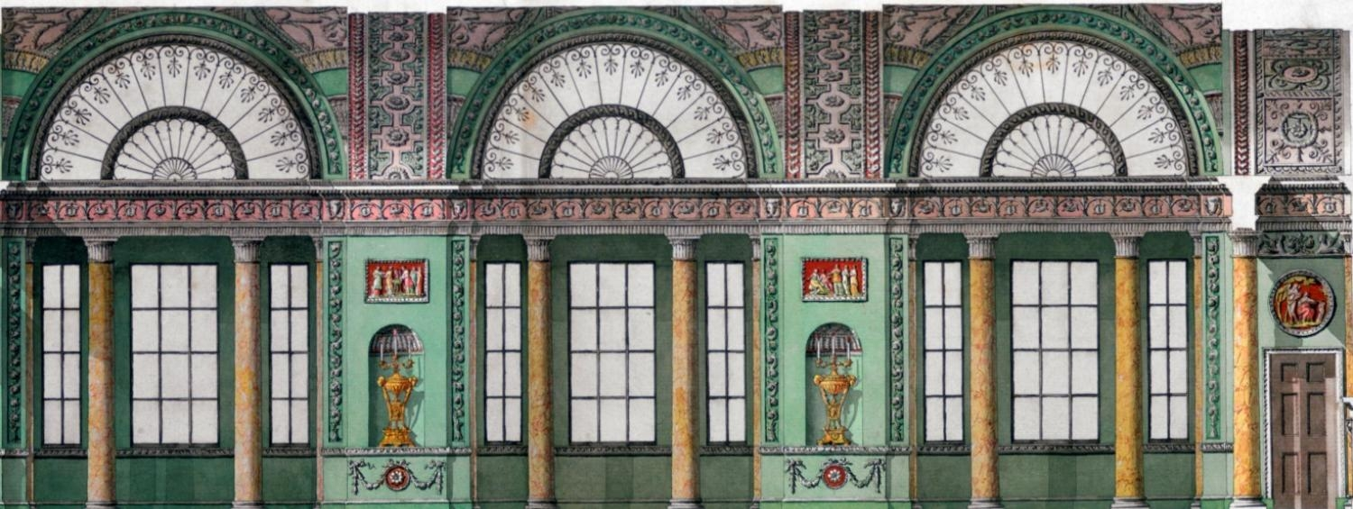 Finished drawing by Robert Adam showing a section through the interior of an unexecuted scheme for Lloyds Coffee House, probably on Freeman's Court, Cornhill