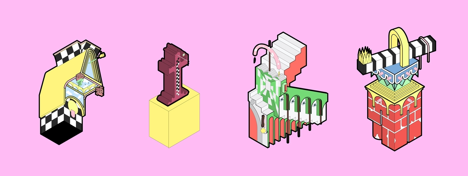 Diagrams of the four characters in this exhibition. Each character is represented by an abstract architectural composition. All are very colourful, and they are displayed on a bright pink background.