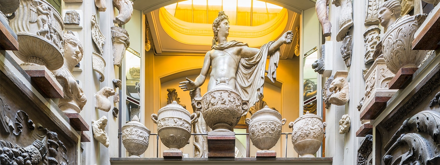 A cast of the Apollo Belvedere in the dome area of Sir John Soane's Museum