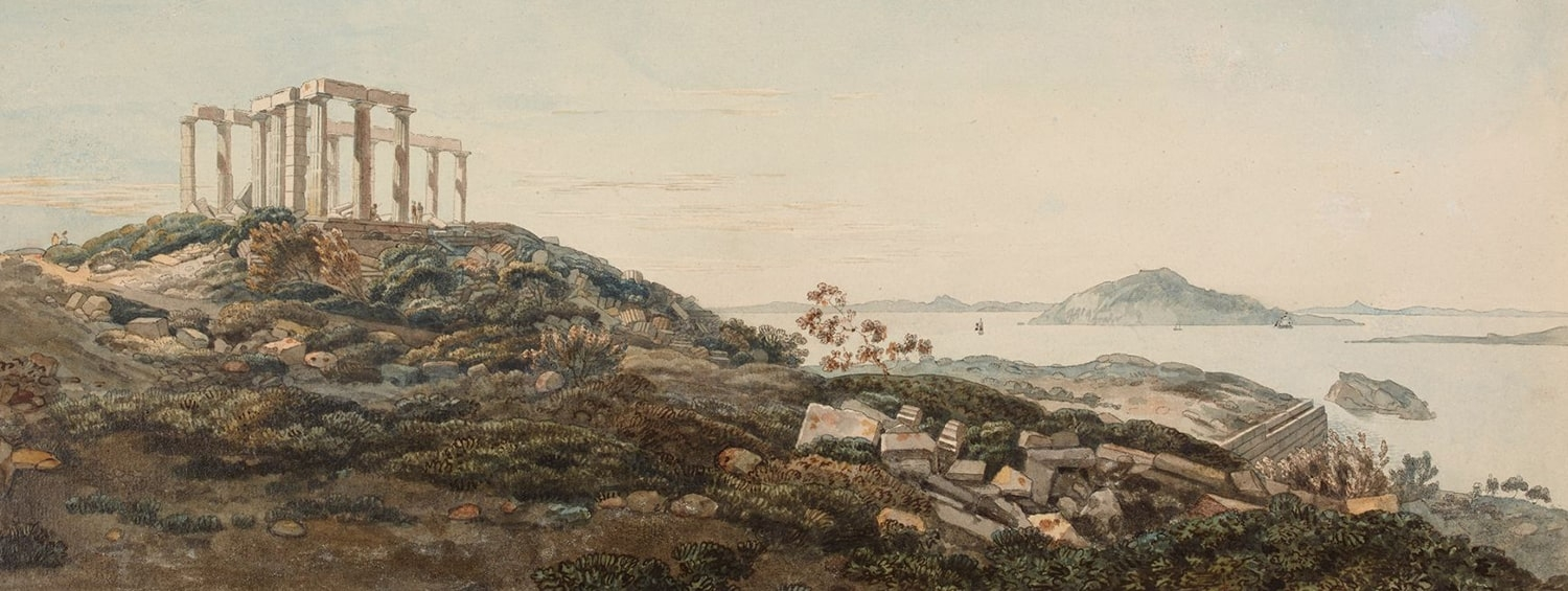 A watercolour showing a hillock, strewn with ruined columns and a ruined greek temple, overlooking the sea with distant islands and boats. Small figures can be seen exploring the temple