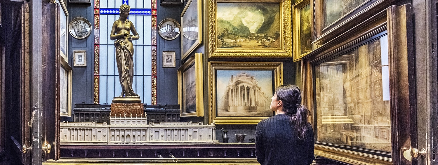 A hidden recess behind the walls of the Picture Room at Sir John Soane's Museum
