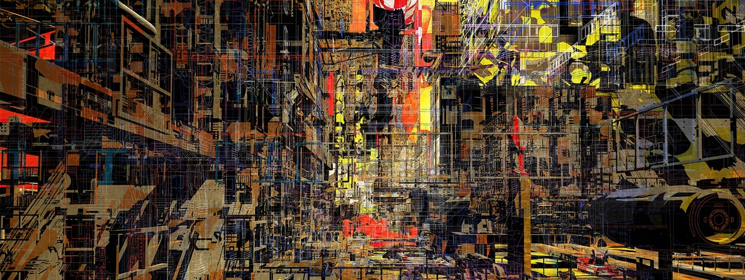 Anton Markus Pasing, 'City in a box: paradox memories', overall winner of the 2019 Architecture Drawing Prize. The image shows a perspective of an architectural space with a kaleidoscope of different colours.