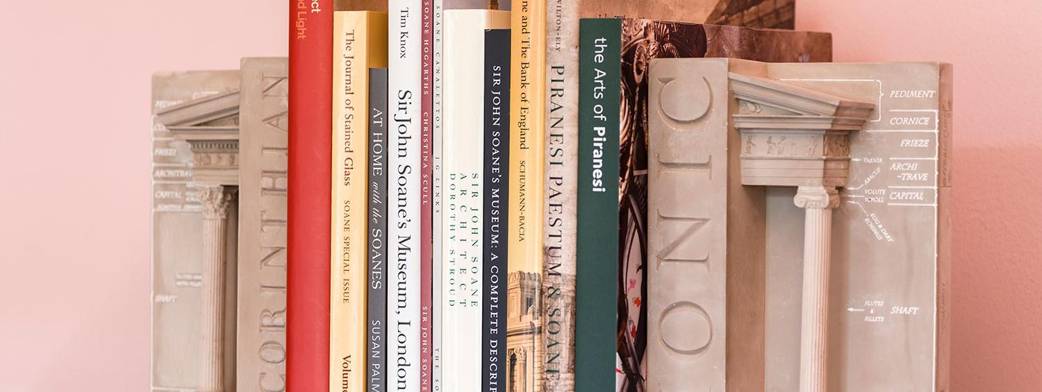 Photograph of some of the books the Museum publishes on a shelf