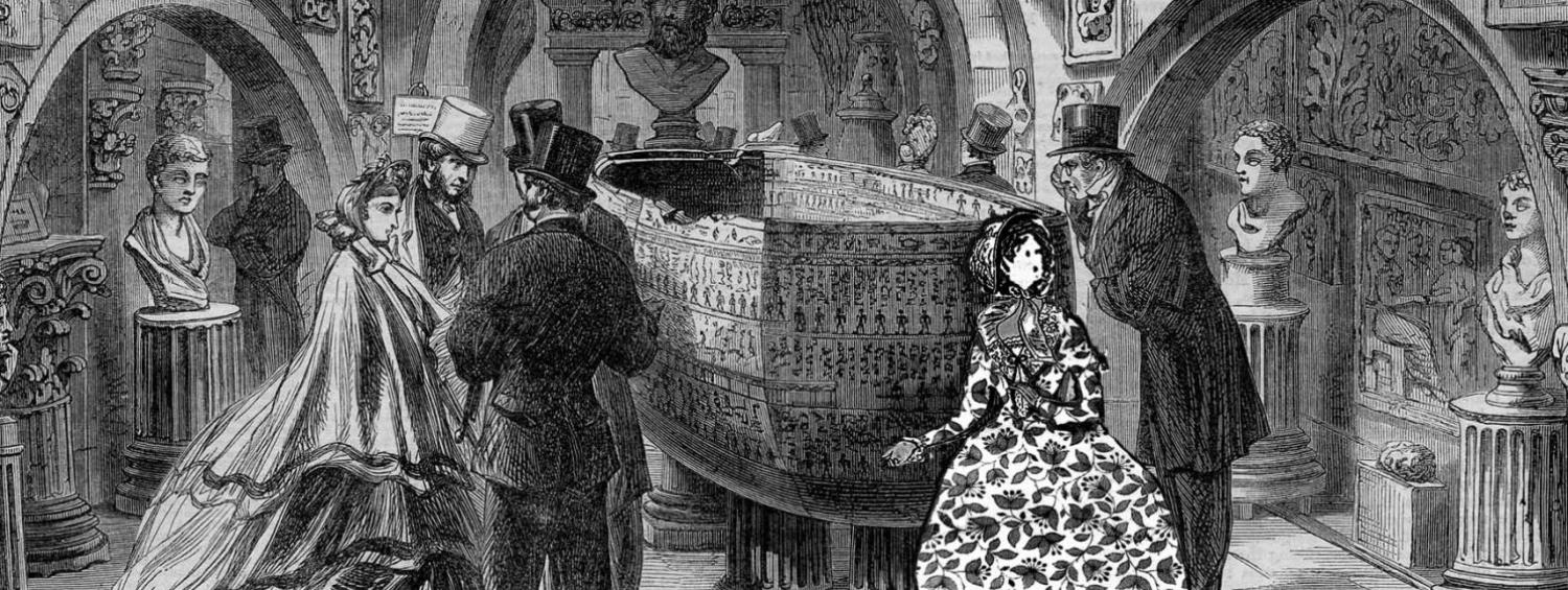 Drawing of the Soane Museum's Sepulchral Chamber with an illustration of Charlotte Bronte added