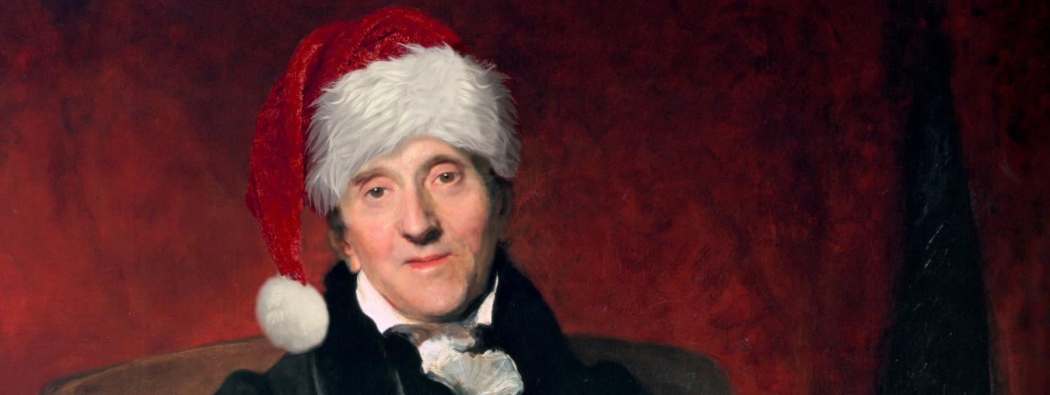 The Thomas Lawrence portrait of Soane with a festive addition of a Christmas hat