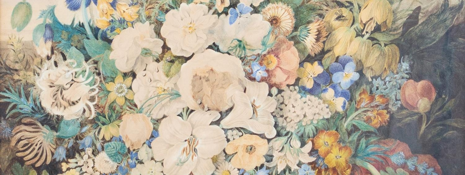 Many different types of flower, in a detail of the painting Shakespeare's Flowers by Clara Maria Pope