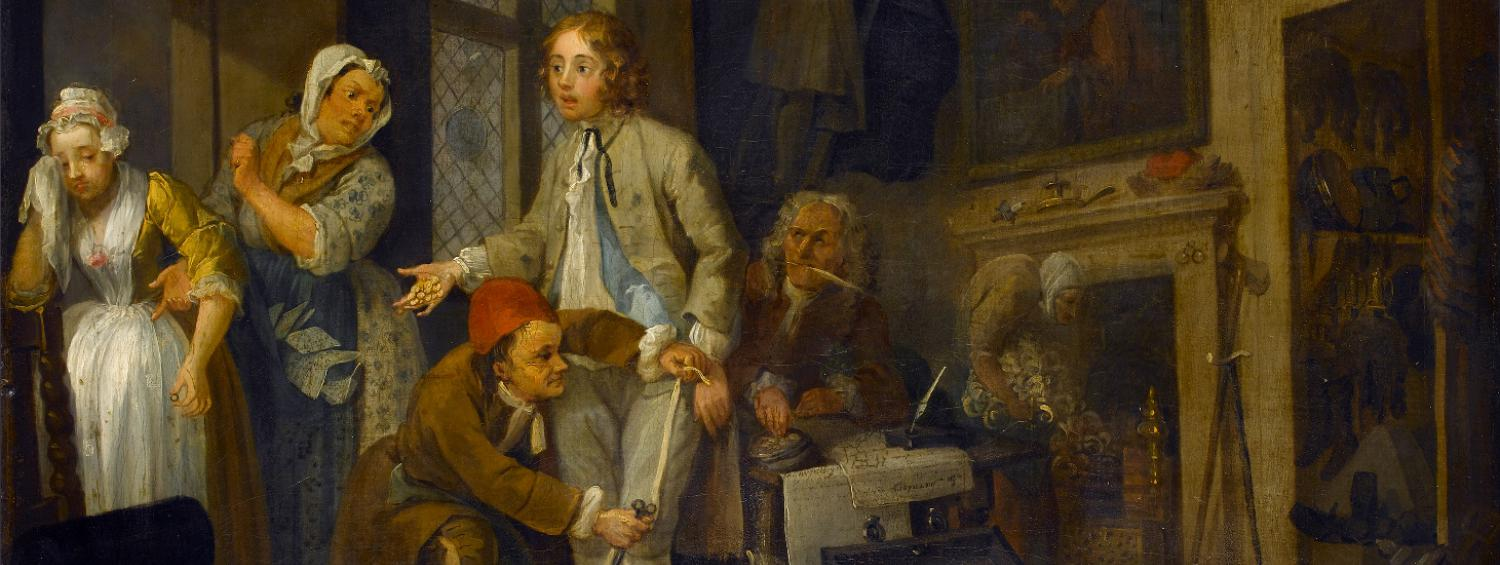 The Heir, the first painting in A Rakes Progress where Tom Rakewell is in his father's house