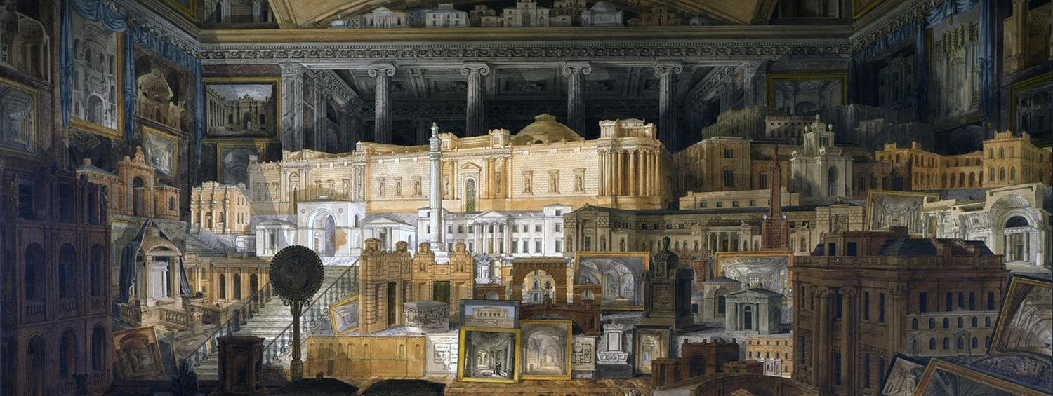 Drawing showing all Soane's buildings built between 1808 and 1815 and drawn by Joseph Michael Gandy