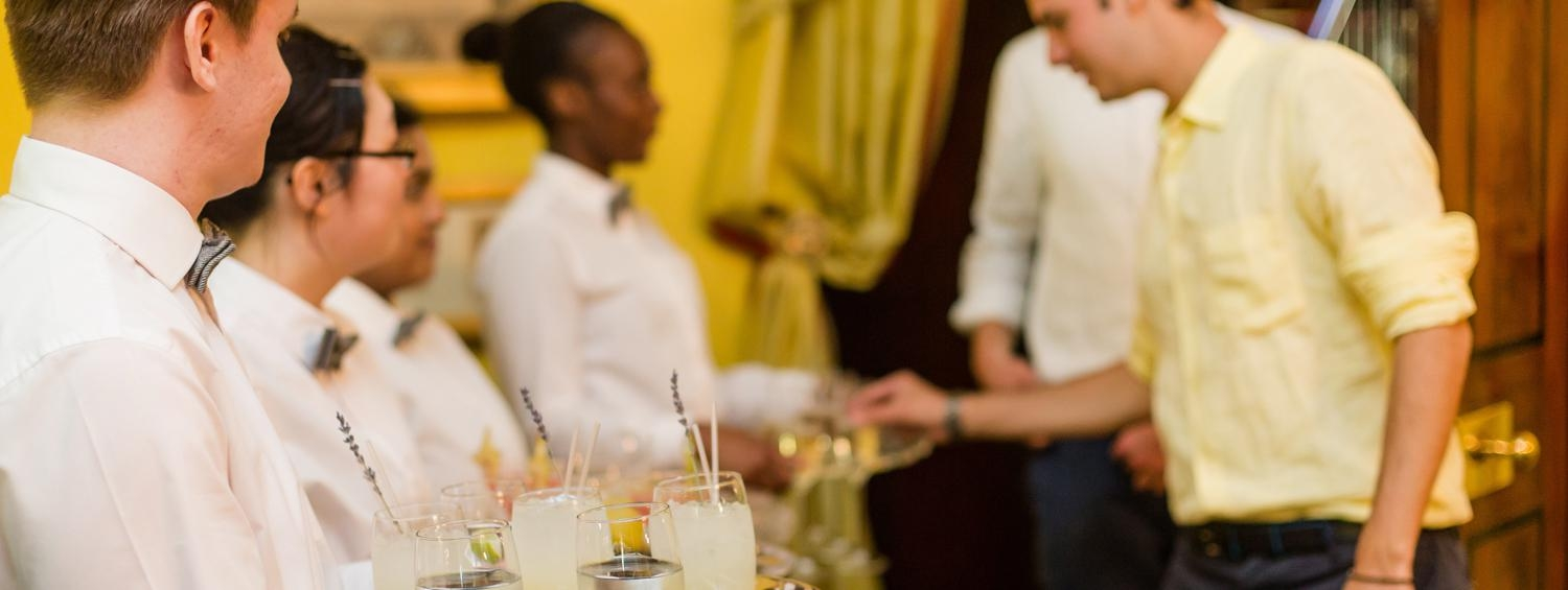 Photograph of drinks being served at a private reception in our South Drawing Room