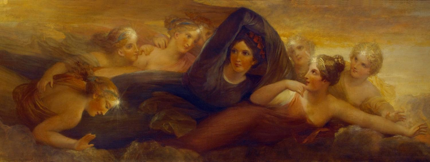Painting from the ceiling panel telling the story of Pandora with this one showing a portrait of Soane's deceased wife Eliza