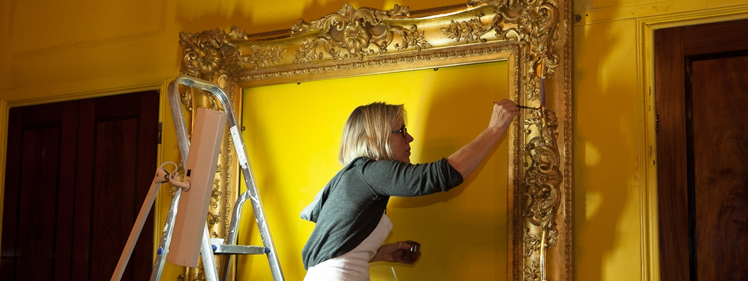 Frame conservation work in the South Drawing Room