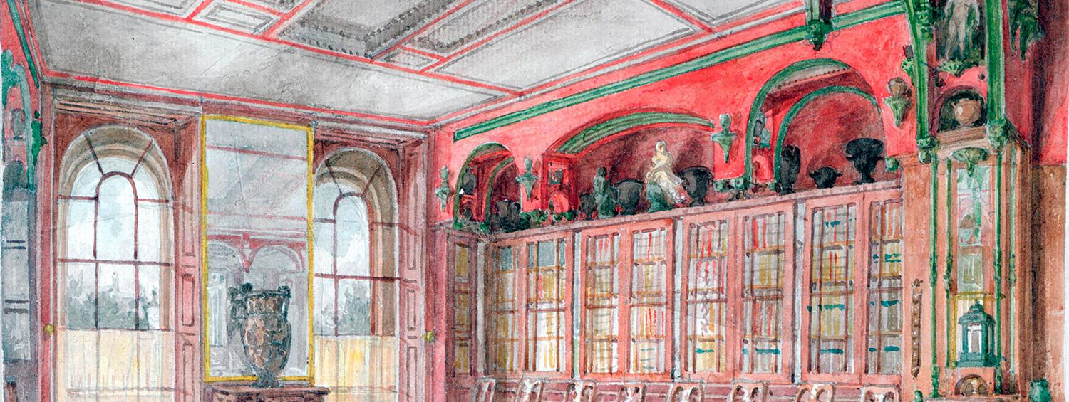 Watercolour of the soutth and west walls of the Library Dining Room