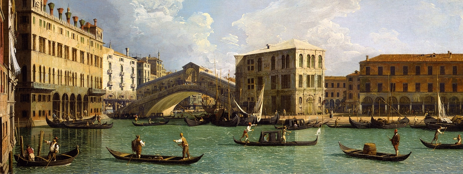 The Rialto Bridge from the north by Canaletto
