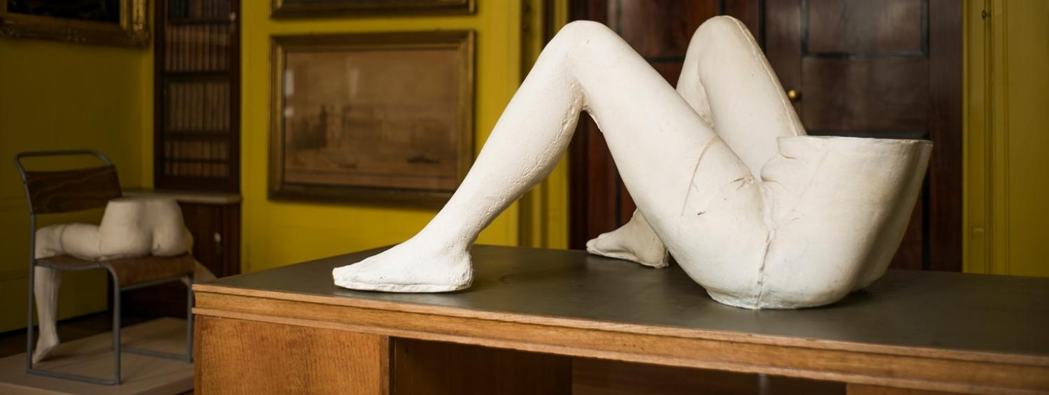 Two sculptures by Sarah Lucas on display in Soane's Drawing Room