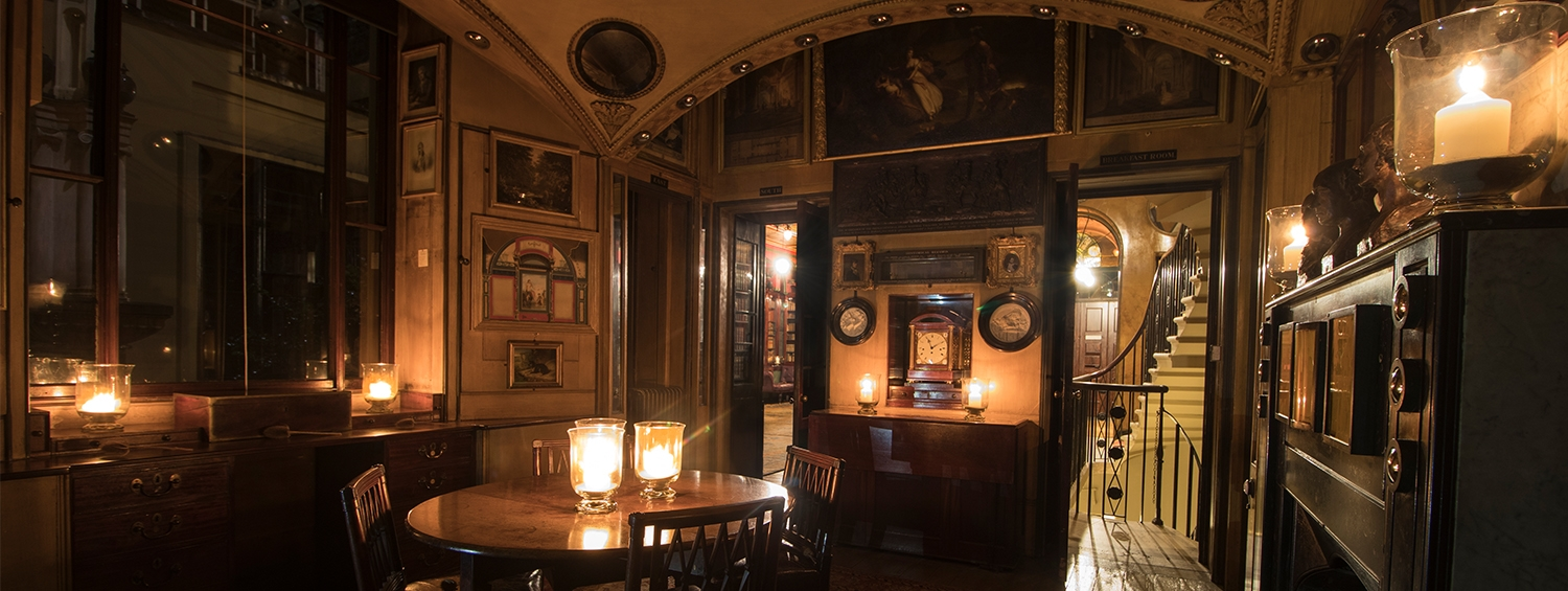 The Breakfast Room of Sir John Soane's Museum candlelit during our Late
