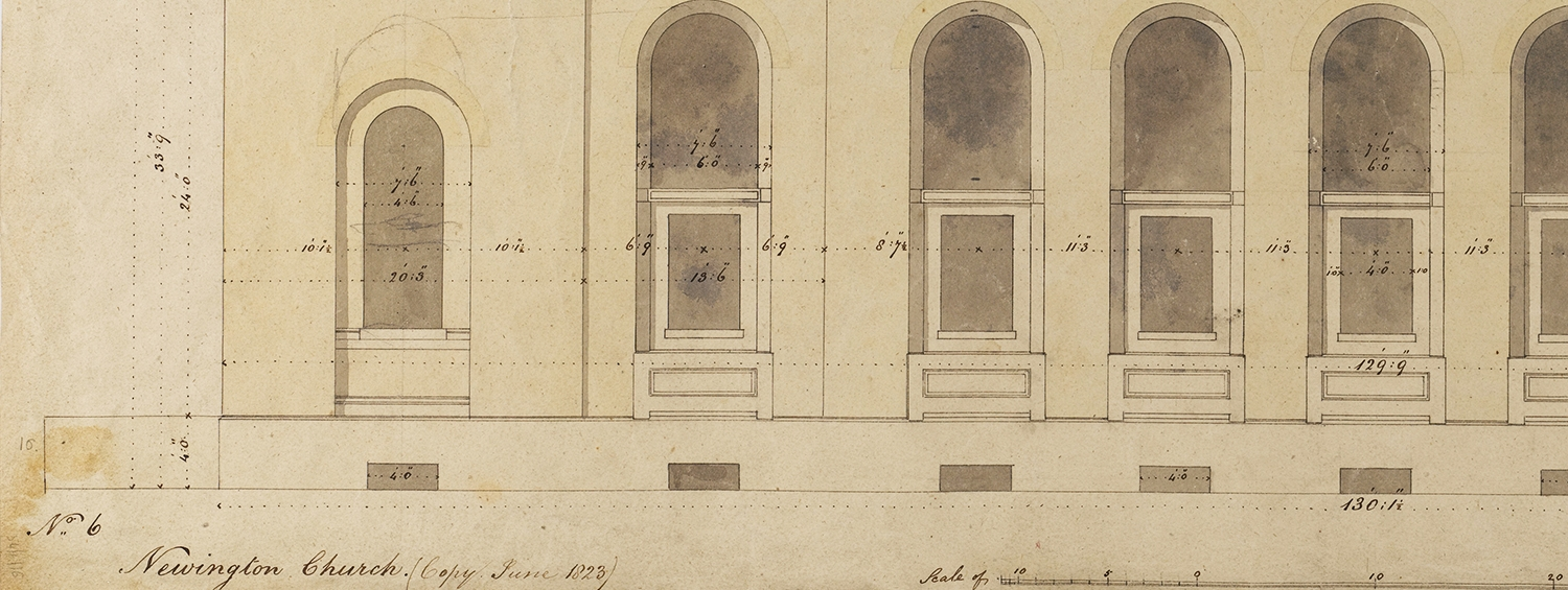 Detail of Soane office elevation of St Peter's, Walworth