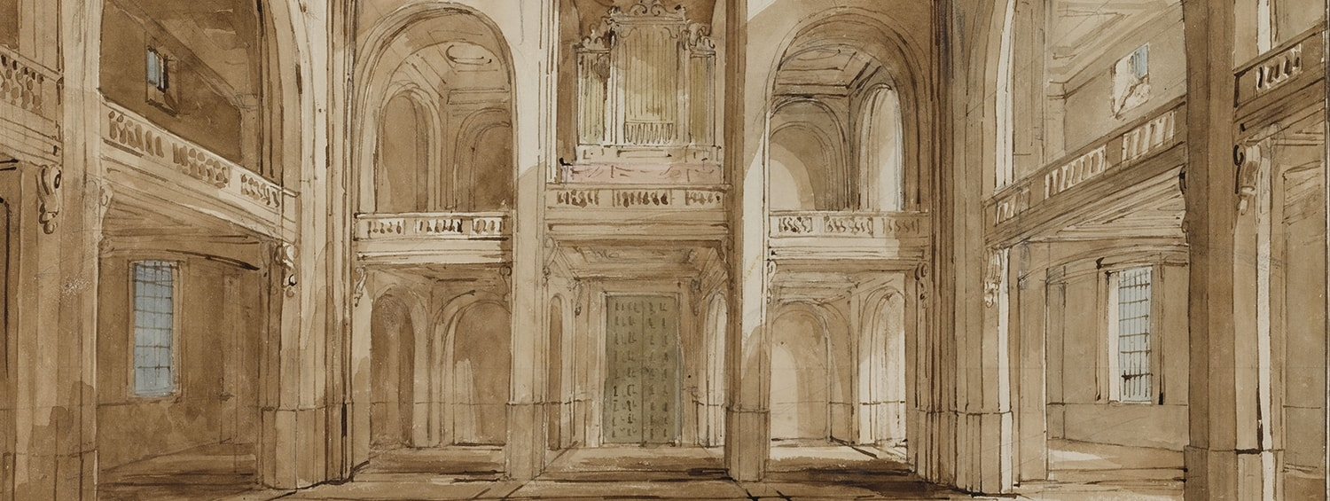 Soane Office, Holy Trinity, Marylebone, Interior perspective towards the western end, showing the effects of light and shadow from the windows, May 1823, SM 54/3/15 © Sir John Soane's Museum / Ardon Bar-Hama
