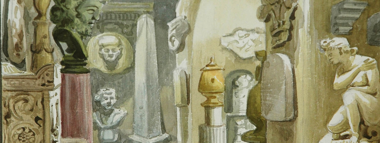 A watercolour showing arrangements of objects at the Soane Museum