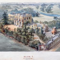 Bird's-eye view of Pitzhanger Manor showing the yellow house with columns on the front, outlying buildings, and the grounds