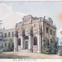Perspective view of Pitzhanger Manor, a yellow-walled house with Roman columns on the front, surrounded by trees and a lawn