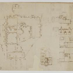 Survey drawing of Moggerhanger Park, Bedfordshire with plans and section sketches