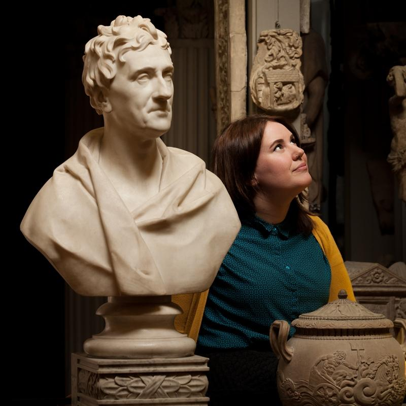Joanna next to the bust of Sir John Soane
