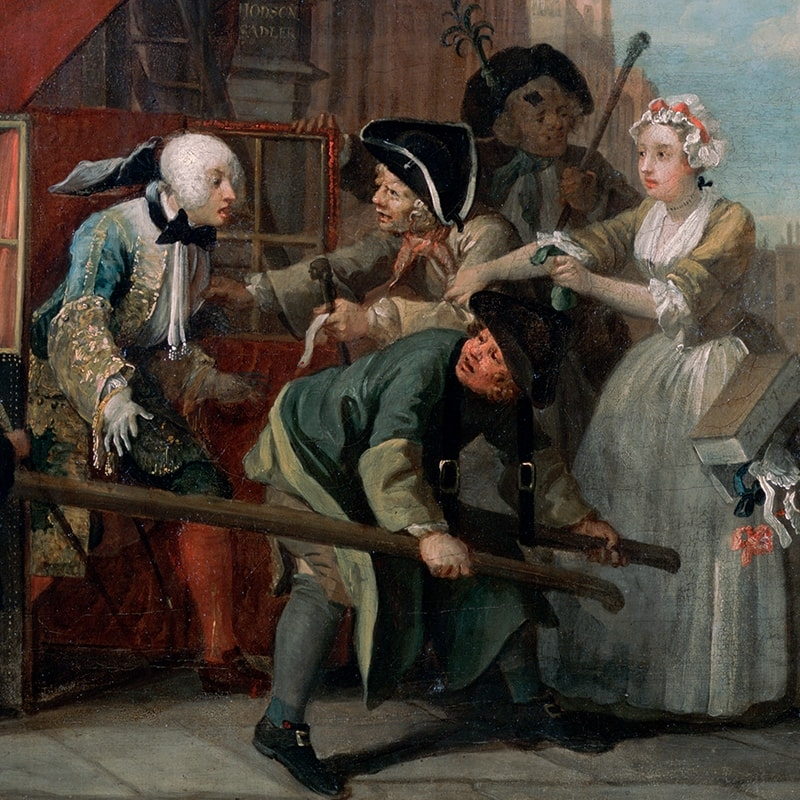 William Hogarth (1697-1764), A Rake's Progress, 4: The Arrest (detail), 1734. Oil on canvas, 62.5 x 75.2. Sir John Soane's Museum, London