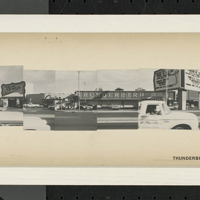 Series of black and white photographs pasted together to create a very long photograph of the Las Vegas Strip