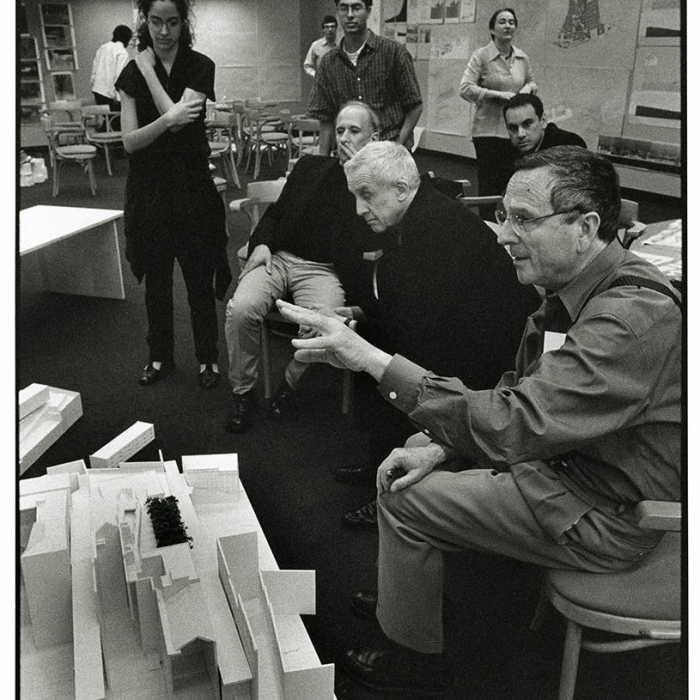 Rafael Moneo, with Kenneth Frampton, on a jury at Harvard Graduate School of Design