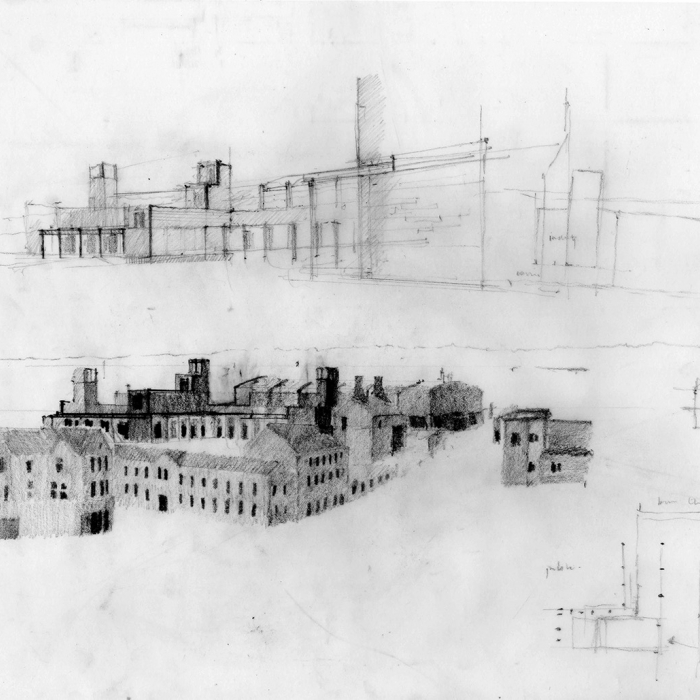 A hand-drawn drawing of buildings