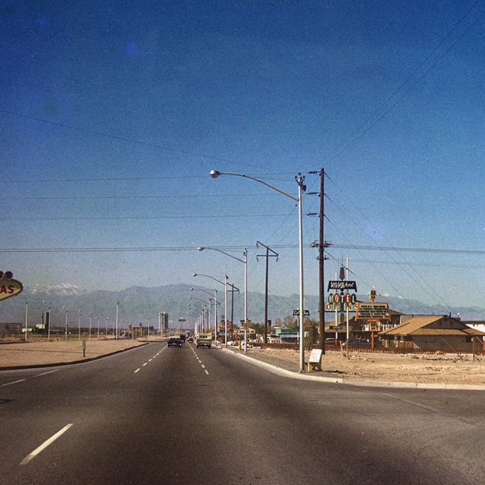 A road in Las Vegas with the Welcome to Fabulous Las Vegas sign