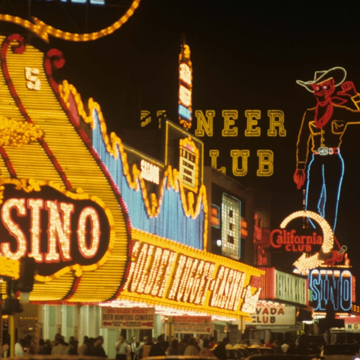 The many lights and signs of Las Vegas at night