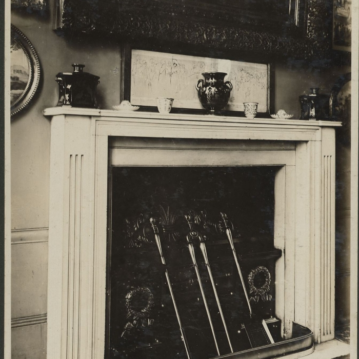 A glimpse of the floor cloth in the lower left corner of a photograph of the North Drawing Room