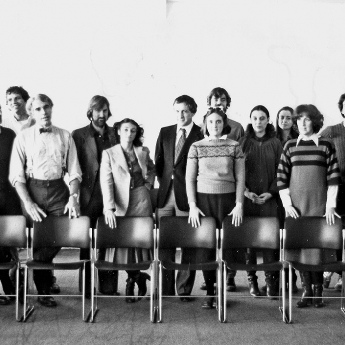 A group photograph in black and white