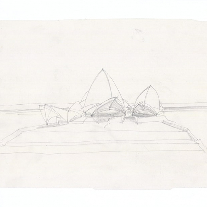 A drawing of the design for Sydney Opera House