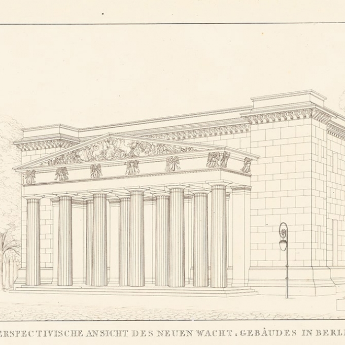 Line engraving of a classical building