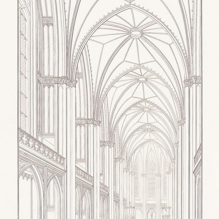 Engraving of a gothic church