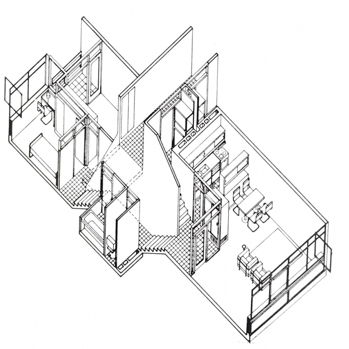 An axonometric view of the interior of a maisonette