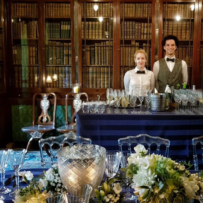 Photograph of the Library Dining Room just before a drinks reception