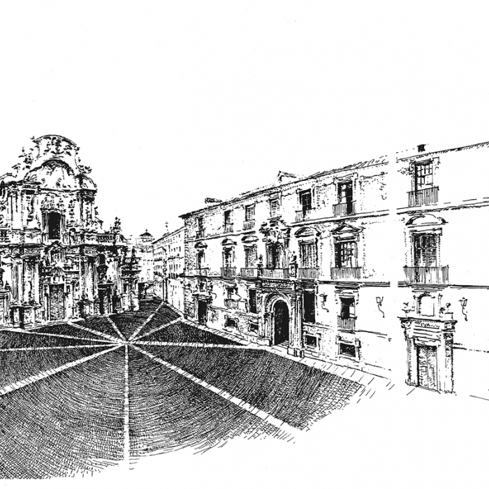 Pen drawing of buildings in a square
