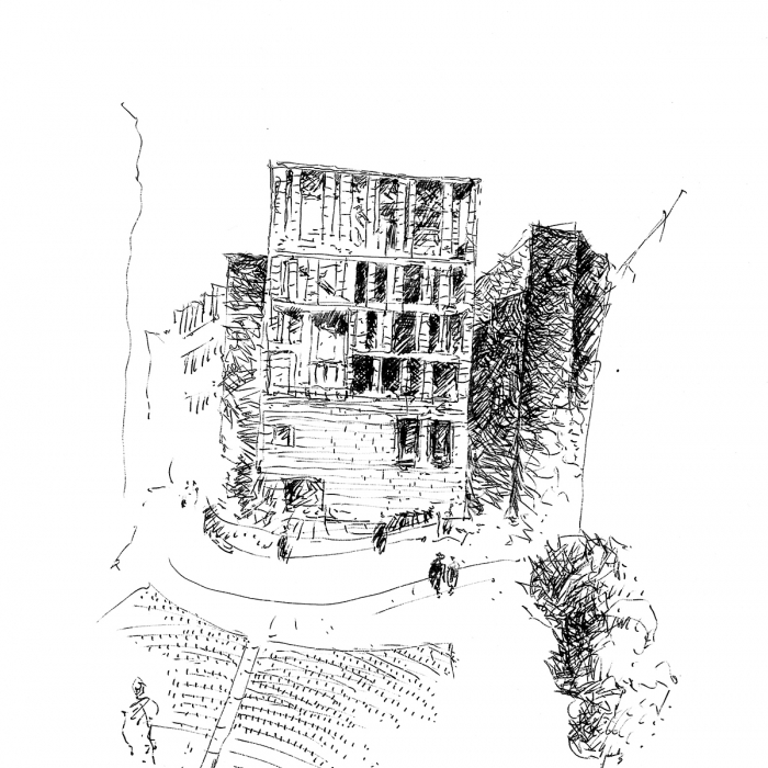 Pen drawing of a building